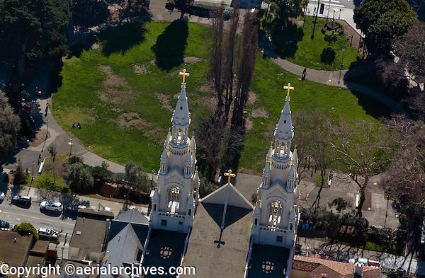 aerial photograph of the Saints Peter and Paul Church, Washington Square Park, San Francisco, California