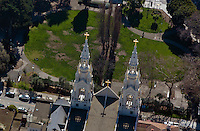 aerial photograph of the Saints Peter and Paul Church, Washington Square Park, San Francisco, California