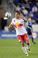 Carlos Mendes (44) of the New York Red Bulls. The New York Red Bulls defeated the New England Revolution 2-0 during a Major League Soccer (MLS) match at Red Bull Arena in Harrison, NJ, on October 21, 2010.