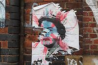 Anti-monarchist's sign, Shoreditch, London, UK. Picture by Manuel Cohen