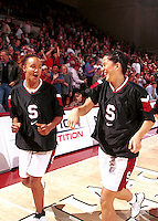 STANFORD, CA - JANUARY 15: Enjoli Izidor and Lindsey Yamasaki during Stanford's 78-62 win over the Oregon Ducks on January 15, 2000 at Maples Pavilion in Stanford, California.