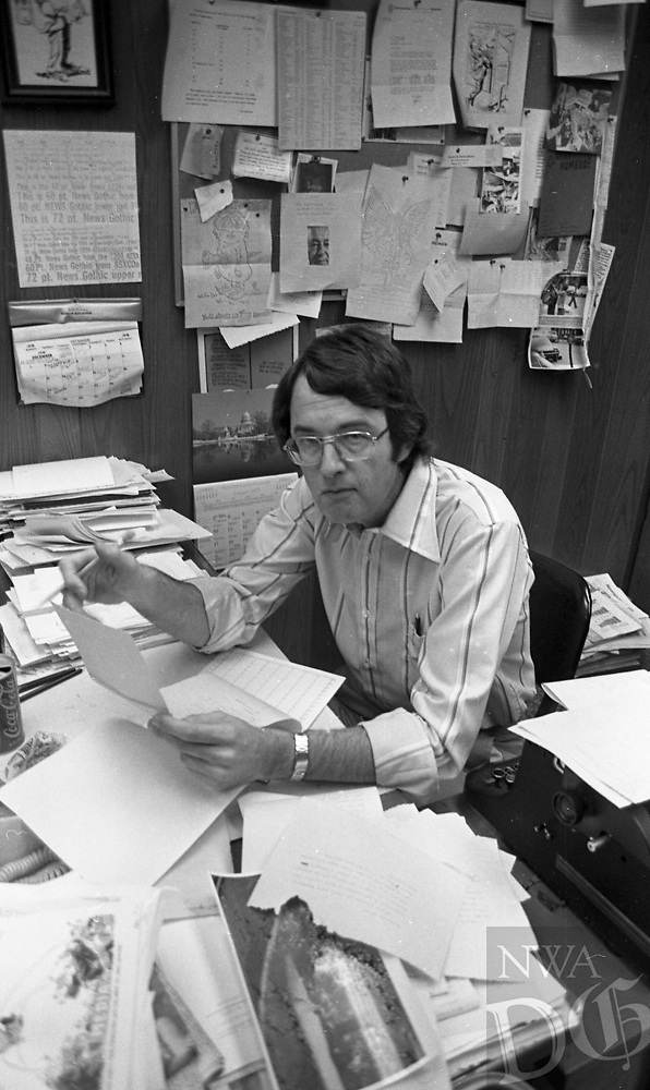 Photo of Jim Morriss long-time editor of The Springdale News and The Morning News of Northwest Arkansas. Morris started his career at the newspaper in the early 1950s and retired in 2003 after more than 50 years.