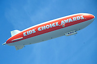 A Nickelodeon Kids' Choice Awards blimp floats above Santa Monica on Friday, March 30, 2012..