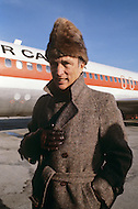 Ottawa, Canada, February 1980. CanadianPrime Minister Pierre Trudeau in front of an Air Canada airplane during hi spolitical campaign for the legislative elections of May 22 1980. Joseph Philippe Pierre Yves Elliott Trudeau, (October 18, 1919 - September 28, 2000), was the 15th Prime Minister of Canada from April 20, 1968 to June 4, 1979, and again from March 3, 1980 to June 30, 1984.