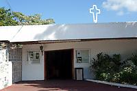 The modernistic Iglesia de Cristo Rey church on Plaza las Palapas in downtown Cancun, Quintana Roo, Mexico
