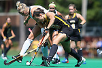 30 August 2014: Iowa's Jessy Silfer (16) and Wake Forest's Madi Julius (behind). The Wake Forest University Demon Deacons played the University of Iowa Hawkeyes at Francis E. Henry Stadium in Chapel Hill, North Carolina as part of the ACC/Big 10 Challenge and an 2014 NCAA Division I Field Hockey match. Iowa won the game 4-1.