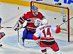 21 December 2008: Montreal Canadiens' goaltender Carey Price gives up the first goal of the game to Carolina Hurricanes' left wing forward Sergei Samsonov from Russia in the first period at the Bell Centre in Montreal, Quebec, Canada. The Hurricanes defeated the Canadiens 3-2 in overtime. ***** Editorial Sales Only ***** Mandatory Photo Credit: Ed Wolfstein Photo