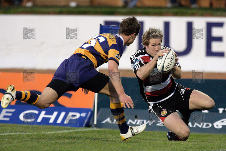 James Maher gathers the ball to score after charging down a clearing kick during the Air NZ Cup rugby game between Bay of Plenty & Counties Manukau played at Blue Chip Stadium, Mt Maunganui on 16th of September, 2006. Bay of Plenty won 38 - 11.