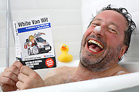 Comedian Rolwand Rivron gets a laugh out of the Wickes book of White Van Wit.