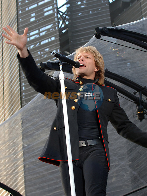 "Jon Bon Jovi on stage at Croke Park Dublin Ireland as part of the bands ""Have a nice day"" tour. Photo: Colin Bell/ Newsfile."