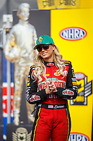 Feb 26, 2017; Chandler, AZ, USA; NHRA top fuel driver Leah Pritchett during the Arizona Nationals at Wild Horse Pass Motorsports Park. Mandatory Credit: Mark J. Rebilas-USA TODAY Sports
