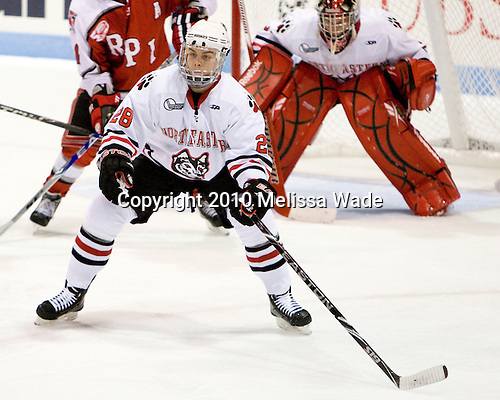 Mike Hewkin (Northeastern - 28) - The visiting Rensselaer Polytechnic Institute Engineers tied their host, the Northeastern University Huskies, 2-2 (OT) on Friday, October 15, 2010, at Matthews Arena in Boston, MA.
