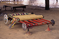 Akadaney, Central Niger, West Africa.  Fulani Nomads.  Portable Bed, Mat Partially Rolled Up.