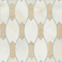 Lana, a stone water jet mosaic, shown in Heavenly Cream and Crema Marfil, is part of the Ann Sacks Beau Monde collection sold exclusively at www.annsacks.com