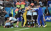 FUSSBALL WM 2014                HALBFINALE Niederlande - Argentinien       09.07.2014 Die Spieler von Argentinien jubeln ueber den Einzug in das Finale