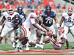 Georgia defensive end Abry Jones (93) attempts unsuccessfully to intercept a pass thrown to Mississippi's Ja-Mes Logan (85) at Vaught-Hemingway Stadium in Oxford, Miss. on Saturday, September 1724, 2011. (AP Photo/Oxford Eagle, Bruce Newman)..