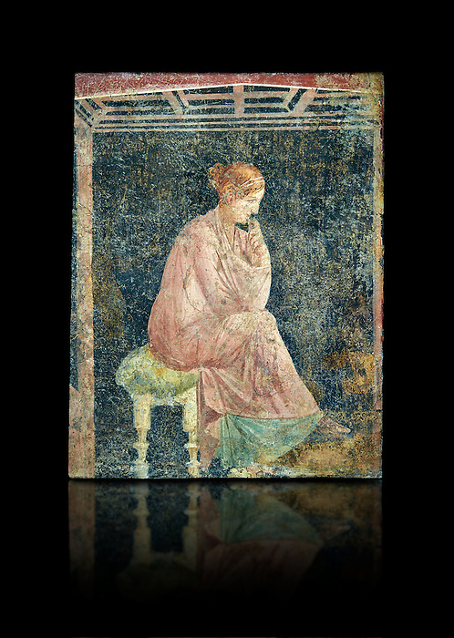 Roman fresco wall painting of a women thinking from the Villa Arianna (Adriana), Stabiae (Stabia) near Pompeii , inv 9097, Naples National Archaeological Museum , black background