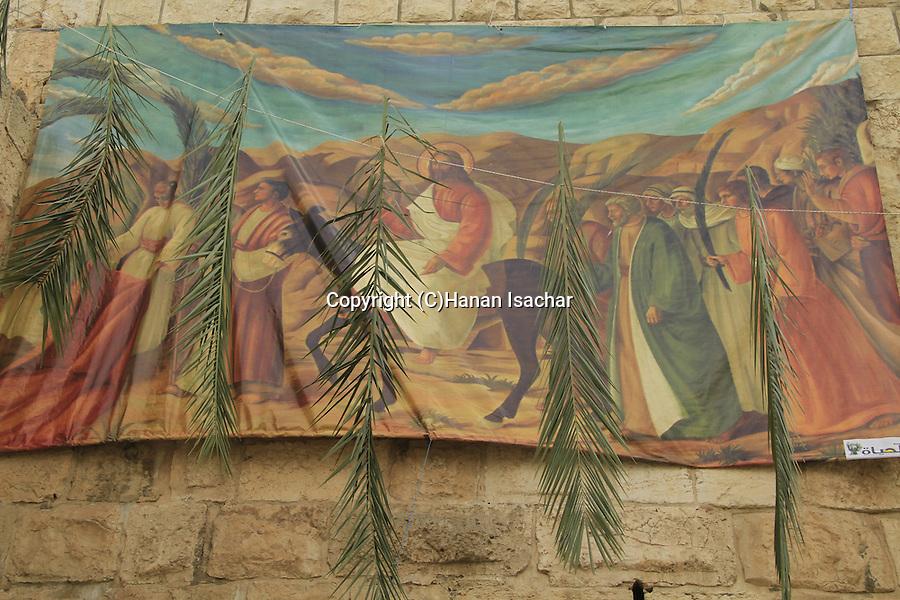 Israel, a Palm Sunday decoration in Jerusalem Old City