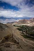 A highway snaking up the Ladakh landscape
