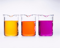 PHENOL RED: ACID-BASE INDICATOR.In Solutions of HCl(aq), NaOH(aq) &amp; NaCl(aq)<br /> l to r: Phenol red is YELLOW in an acid solution of 0.10M hydrochloric acid, ORANGE in a neutral solution of 0.10M sodium chloride and RED in a basic solution of 0.10M sodium hydroxide. The effective range of phenol red is about pH 6.8 to 8.4.