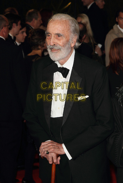 Sir Christopher Lee.Royal World Premiere of 'Skyfall' held at the Royal Albert Hall, London, England..October 23rd, 2012.half length  black white bow tie beard facial hair tuxedo cane.CAP/ROS.©Steve Ross/Capital Pictures.
