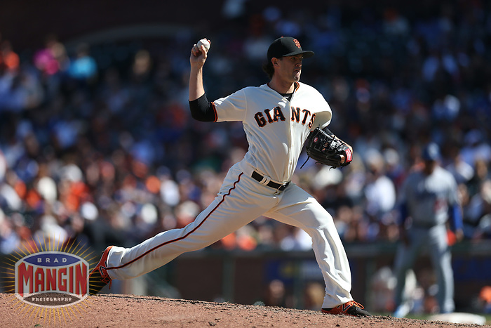 SAN FRANCISCO, CA - APRIL 27:  Cory Gearrin #62 of the San Francisco Giants pitches against the Los Angeles Dodgers during the game at AT&T Park on Thursday, April 27, 2017 in San Francisco, California. (Photo by Brad Mangin)