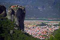 Kalambaka, Kastraki, Meteora, Greece, June 2006. Agia Triada monastery and the town of Kalambaka on the background. The Monastaries of Meteora can be found high on the steepest rocks, Photo by Frits Meyst/Adventure4ever.com