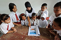 Teacher and children during an environmental education class, Dudepo, Bolmong Selatan, Sulawesi, Indonesia.