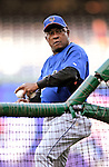 29 September 2009: New York Mets' Bench Coach Sandy Alomar, Sr. serves up batting practice prior to a game against the Washington Nationals at Nationals Park in Washington, DC. The Nationals rallied to defeat the Mets 4-3 in the second game of their final 3-game home series. Mandatory Credit: Ed Wolfstein Photo