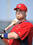19 February 2011: Washington Nationals' non-roster invitee catcher Derek Norris prepares for hitting drills during Spring Training at the Carl Barger Baseball Complex in Viera, Florida. Mandatory Credit: Ed Wolfstein Photo