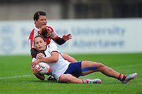 Blandine Gadioux of France scores a try in the second half. FISU World University Championship Rugby Sevens Women's Semi Final between France and Portugal on July 9, 2016 at the Swansea University International Sports Village in Swansea, Wales. Photo by: Patrick Khachfe / Onside Images
