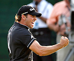Sergio Garcia, from Castellon, Spain, celebrates his par putt on #18 that sent him into a sudden death with Paul Goydos which Garcia won to win the The Players Championship PGA golf tournament in Ponte Vedra Beach, Florida on May 11, 2008.