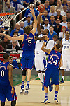31 MAR 2012:  Michael Kidd-Gilchrist (14) of the University of Kentucky shoots over Jeff Withey of the University of Kansas in the championship game of the 2012 NCAA Men's Division I Basketball Championship Final Four held at the Mercedes-Benz Superdome hosted by Tulane University in New Orleans, LA. Kentucky defeated Kansas 67-59 to win the national title. Brett Wilhelm/NCAA Photos