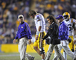 LSU quarterback Zach Mettenberger (8) is hurt against Ole Miss at Tiger Stadium in Baton Rouge, La. on Saturday, November 17, 2012. LSU quarterback Zach Mettenberger (8) would return to the game. LSU won 41-35.....