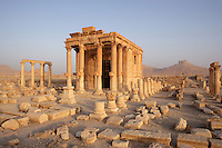 The Baalshamin sanctuary, located in the north of the city of Palmyra. Its construction began in the second century BC. Gradually was added a colonnaded courtyard after 67 AD and a cella in 130 AD; Citadel in the distance, Palmyra. Syria Picture by Manuel Cohen