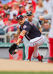 29 May 2016: Washington Nationals first baseman Ryan Zimmerman gets an out at first during play against the St. Louis Cardinals at Nationals Park in Washington, DC. The Nationals defeated the Cardinals 10-2 to split their 4-game series. Mandatory Credit: Ed Wolfstein Photo *** RAW (NEF) Image File Available ***
