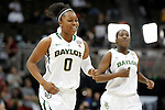 01 APRIL 2012:  Odyssey Sims (0) of Baylor University starts to celebrate with her teammates after defeating Stanford University during the Division I Women's Final Four semifinals at the Pepsi Center in Denver, CO.  Baylor defeated Stanford 59-47 to advance to the championship final.  Jamie Schwaberow/NCAA Photos