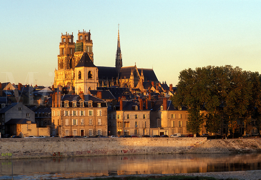 Orleans, France, Loire Valley Castle Region, Loiret, Centre, Europe, A view of the town of Orleans from the Loire River at sunset.