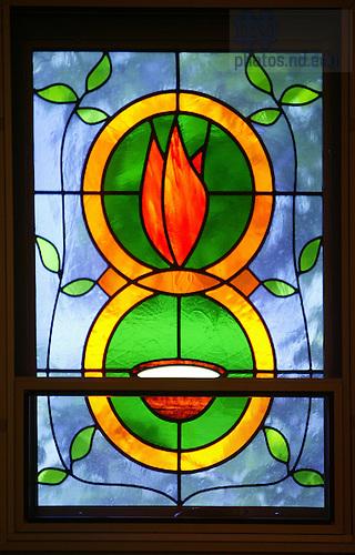 McGlinn Hall Chapel stained glass window..Photo by Matt Cashore..