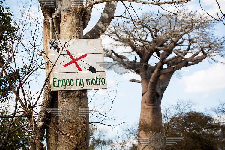 sign warns against disgarding burning cigarettes in the bush.  Fires are the cause of much of the lost forrest habitat on the island. THey are often started by farmers seeking more pasture land for their cattle.