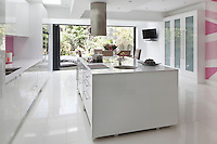 The kitchen was extended to create a space large enough for both cooking and dining and opens onto the garden