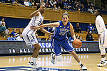 27 October 2013: Haley Peters (33) moves past Oderah Chidom (22). The Duke University Blue Devils played their annual preseason Blue White women's college basketball game at Cameron Indoor Stadium in Durham, North Carolina.