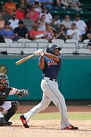 Salem Red Sox first baseman Josh Ockimey (30) at bat during a game against the Down East Wood Ducks  at Grainger Stadium on April 16, 2017 in Kinston, North Carolina. Salem defeated Down East 9-2. (Robert Gurganus/Four Seam Images)