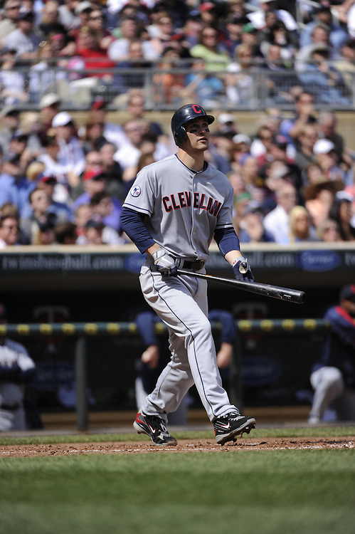 MINNEAPOLIS - APRIL 24:  Grady Sizemore #24 of the Cleveland Indians bats against the Minnesota Twins  on April 24, 2011 at Target Field in Minneapolis, Minnesota.  The Twins defeated the Indians 4-3.  (Photo by Ron Vesely)  Subject:  Grady Sizemore