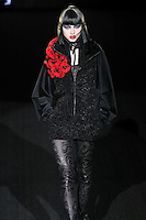 Leila walks runway in a Wicked Game outfit, from the Betsey Johnson Fall 2011 He Loves Me Not - Black Tag collection, during Mercedes-Benz Fashion Week Fall 2011.