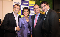 ***NO FEE PIC***.28/01/2011.Ryanair CEO Michael O' Leary,.Sales Director Travel Extra Maureen Ledwith.Edmund Hourican MD Holiday World.Shane Harrigan Distrubution Manager Travel Extra . at the Travel Clinic during the Holiday World Show in the RDS, Dublin..Photo: Gareth Chaney Collins