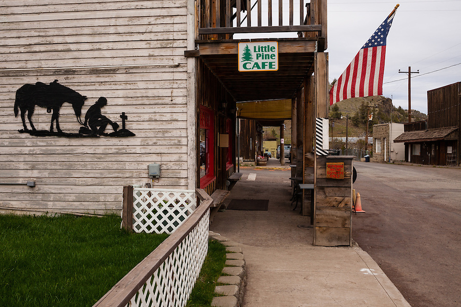 The Little Pine Cafe and sidewalk is seen in downtown Mitchell Oregon in Wheeler County.