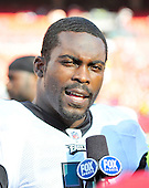 Philadelphia Eagles quarterback Michael Vick (7) is interviewed following his team's 20 - 13 victory over the Washington Redskins at FedEx Field in Landover, Maryland on Sunday, October 16, 2011. .Credit: Ron Sachs / CNP