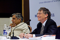Bill Gates, co-chair of the Bill and Melinda Gates Foundation (BMGF) speaks about Tuberculosis issues as the Union Minister of Science and Technology /Minister of Earth Sciences / Minister of Parliamentary Affairs, Shri Pawan Kumar Bansal, looks on at the &quot;Maximising India's Capacity&quot; press briefing hosted by the Ministry of Science and Technology, Government of India in Le Meridien Hotel, New Delhi, India on 24th March 2011..