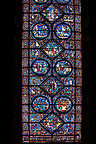 Medieval stained glass Window of the Gothic Cathedral of Chartres, France - dedicated to the life of St Anthony of the Desert.
